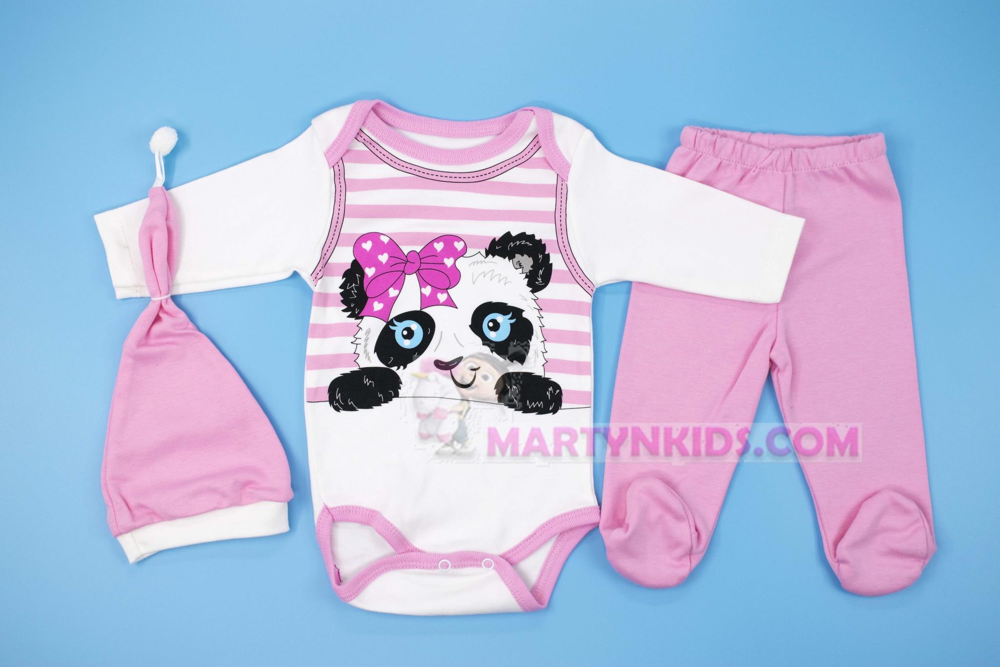 3105  боди-тройка Розовая панда