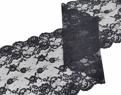 Эластичное кружево, 22 см, черное, м, (Арт: EK-2272), м