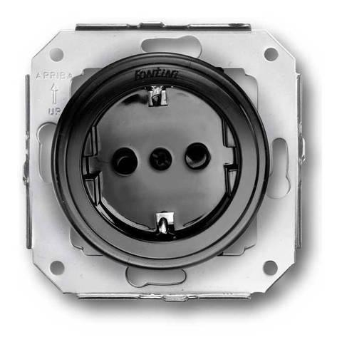 Розетка электрическая 2К без заземления 16 A, 250 В~. Цвет Чёрный. Fontini Garby Colonial(Фонтини Гарби Колониал). 31209022