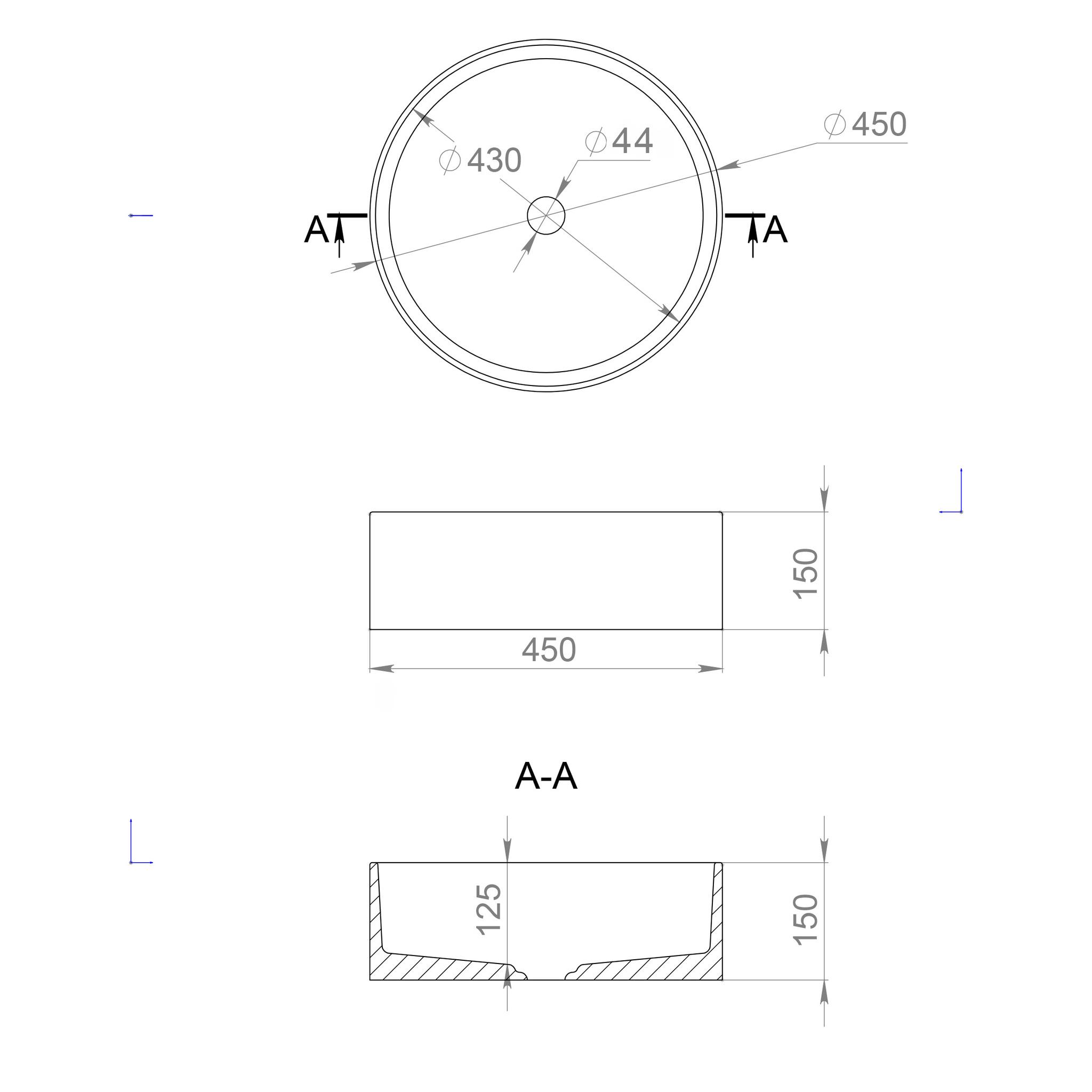 Накладная раковина ARMONIA 202 S-SENSE (SAPIRIT) глянец/матовая 450х450х150 мм