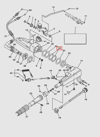 Шайба румпеля волнистая  для лодочного мотора T40 Sea-PRO (14-34)