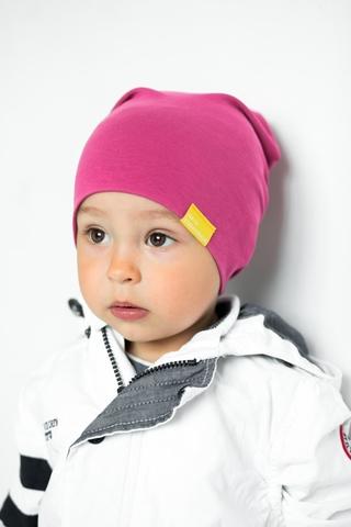 Детская шапка хлопковая гладкая тонкая ягодная
