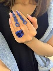 11741- Крупное кольцо с синими микроцирконами в стиле Grisogono