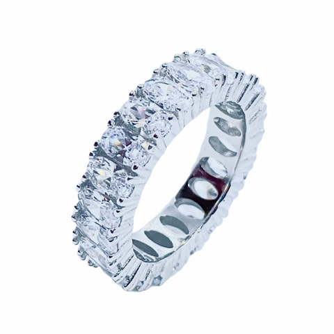 21842- Кольцо-дорожка из серебра с овальными цирконами