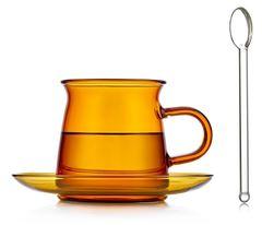 Стеклянная чашка янтарного цвета с блюдцем и ложкой, 200 мл