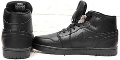 Зимние ботинки кроссовки мужские кожаные Nike Air Jordan 1 Retro High Winter BV3802-945 All Black