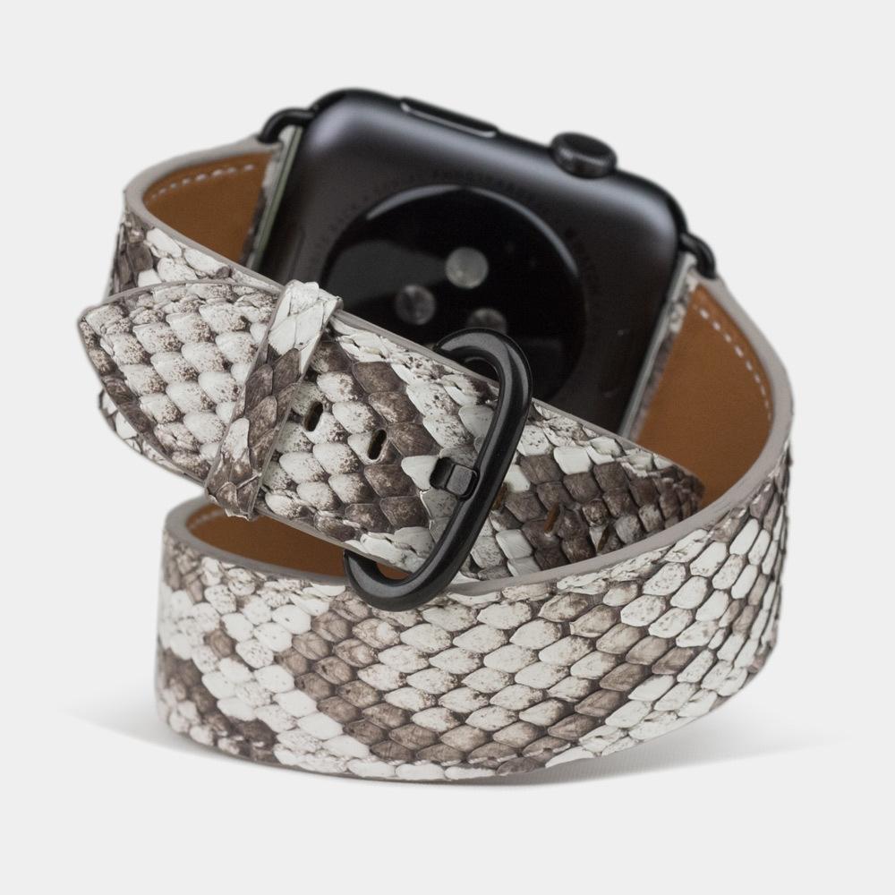 Ремешок для Apple Watch 42мм ST Double Strap из натуральной кожи питона, цвета Natur