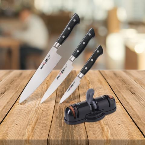 Набор из 3 ножей Samura PRO-S и точилки KSS-3000