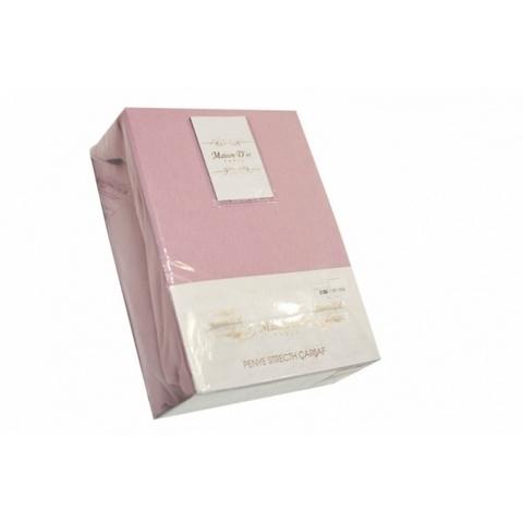 Простынь на резинке трикотажная гр-розовая 220х240  PENYE ПЭНЕ  Maison Dor Турция