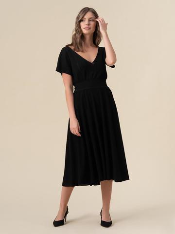 Женская юбка-миди черного цвета с поясом на резинке - фото 2