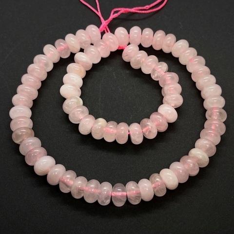 Бусина кварц розовый рондель гладкий 10х6 мм 1 бусина