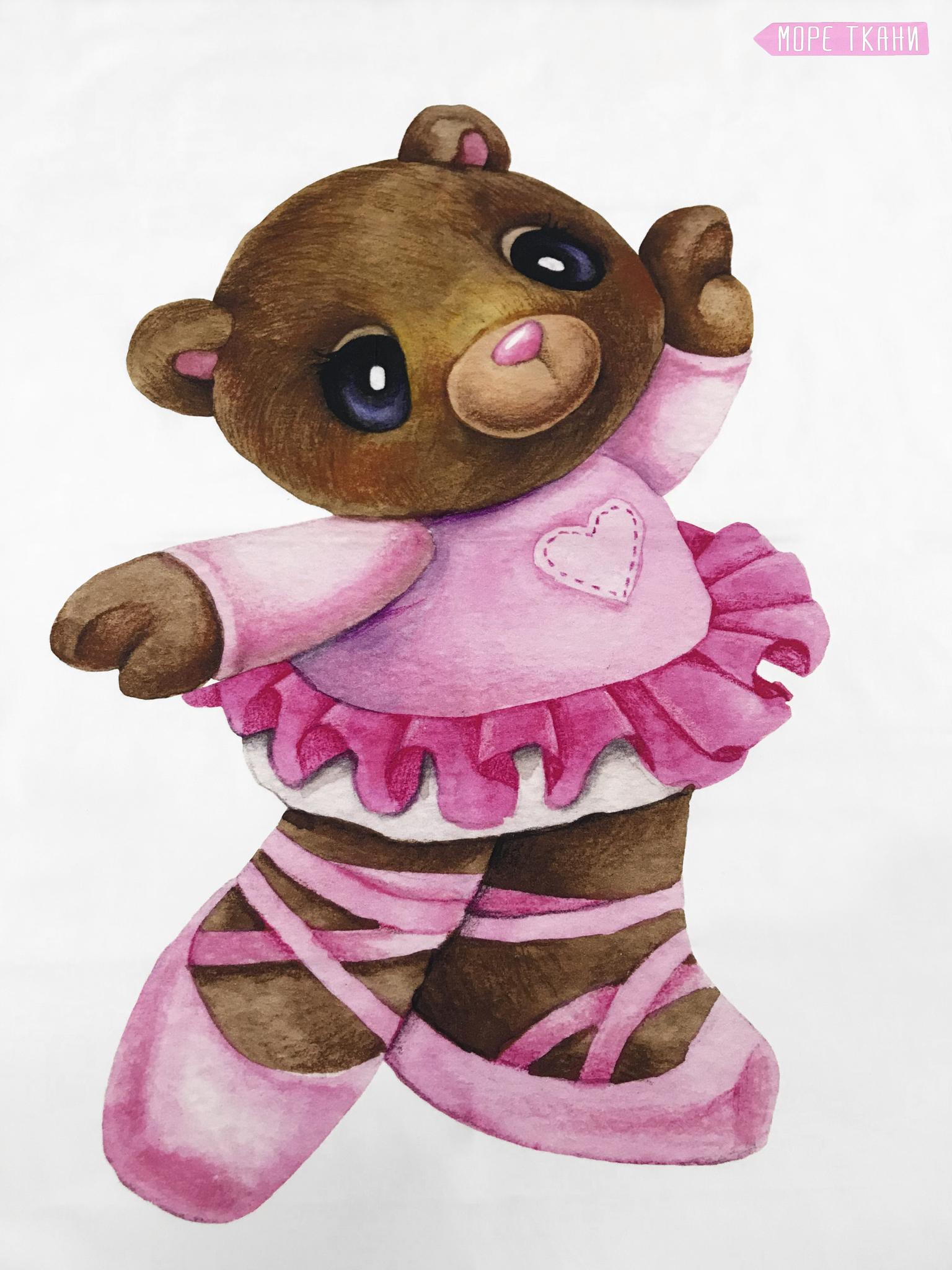 Панель(купон)  мишка в платье и балетках -75*100 см