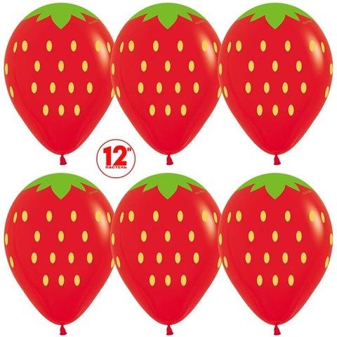 Шар (12''/30 см) Клубника, Красный (015), пастель, 5 ст.