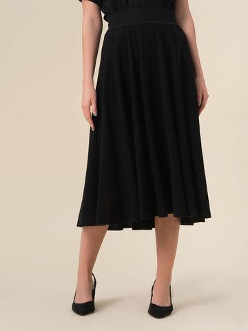 Женская юбка-миди черного цвета с поясом на резинке - фото 4