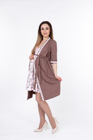 Комплект для беременных и кормящих с халатом и сорочкой 10037 капучино