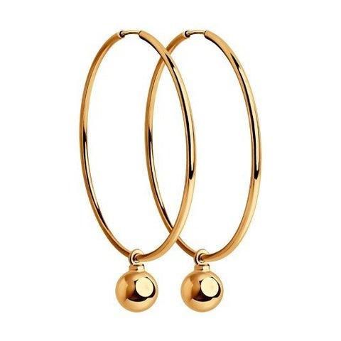 028391 - Серьги-кольца из золота 585 пр с подвеской шарик