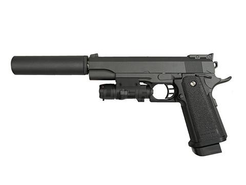 Cтрайкбольный пистолет Galaxy G.6A Hi-Capa с ЛЦУ и имитацией глушителя, металлический, пружинный