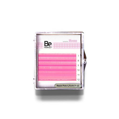 Цветные ресницы Be Perfect Neon Pink MIX 6 линий
