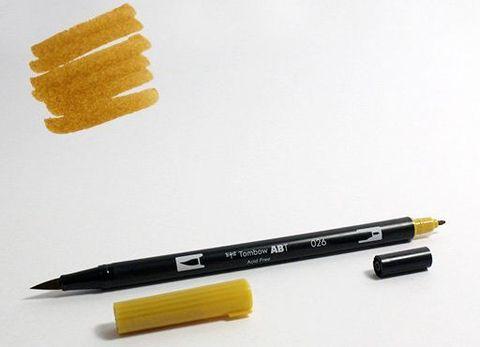Маркер-кисть Tombow ABT Dual Brush Pen-026, желто-золотой