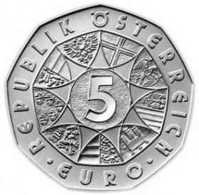 5 евро. 250 лет со дня рождения В.А. Моцарта. Австрия. Серебро. 2006 год. UNC