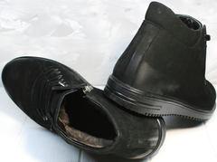 Купить кожаные ботинки мужские зимние Luciano Bellini 71783 Black.