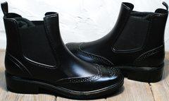 Резиновые утепленные сапоги женские короткие W9072Black.