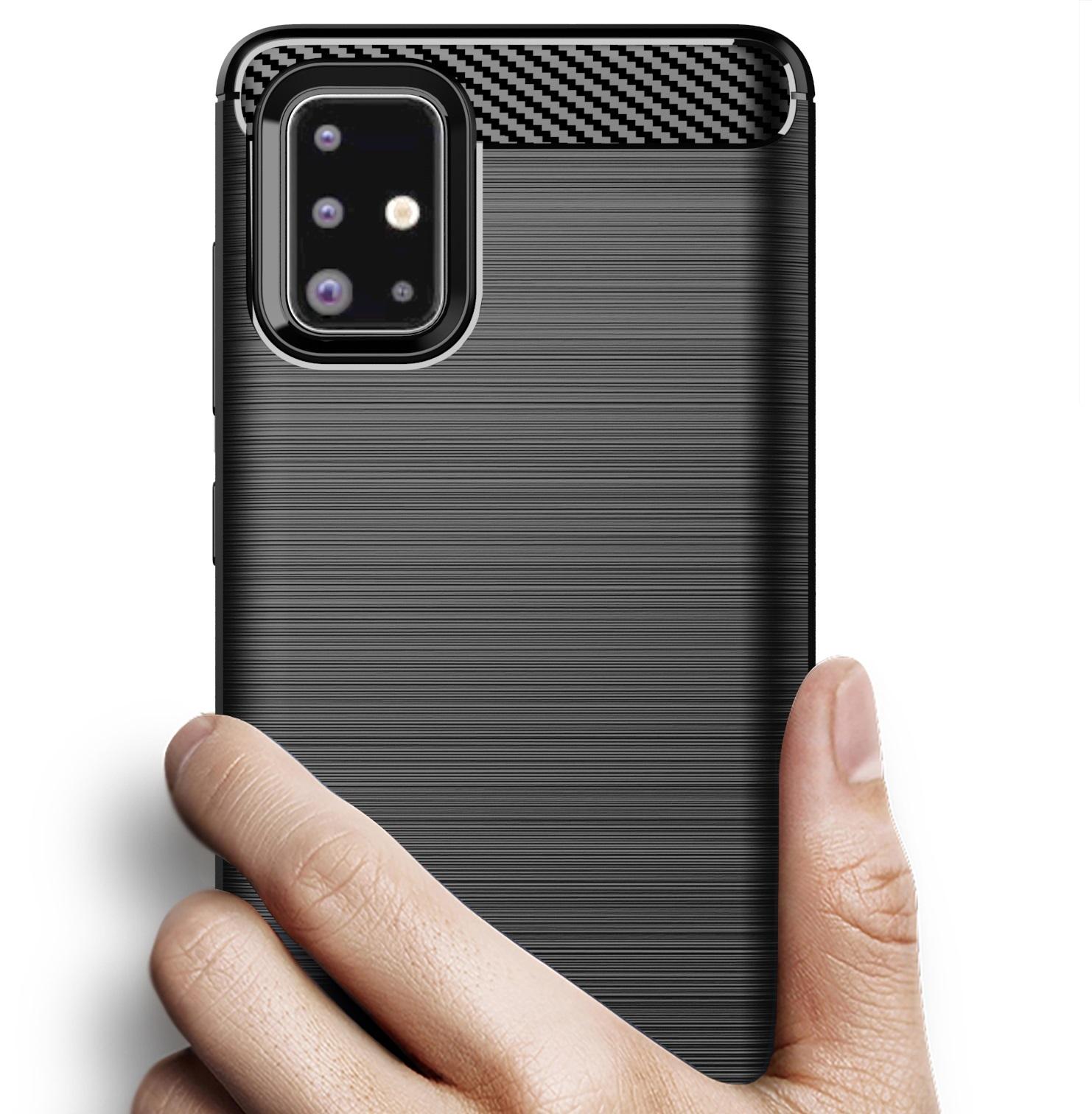 Чехол для Samsung Galaxy A71 цвет Black (черный), серия Carbon от Caseport