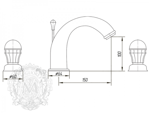 Смеситель для раковины на 3 отв. Korona Swarovski ML.KRN-4712 схема