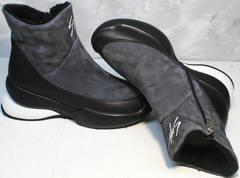 Winter boots женские Jina 7195 Leather Black-Gray