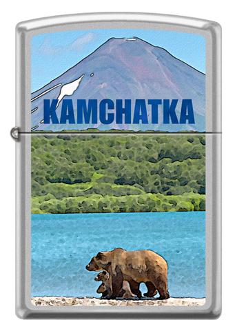 Зажигалка Zippo  (205 KAMCHATKA) Камчатка с покрытием Satin Chrome™ латунь/сталь серебристая матовая