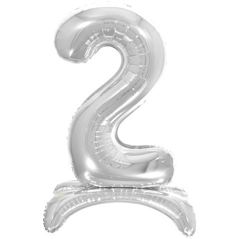 2 Цифры на подставке на пол, Серебро, 81 см
