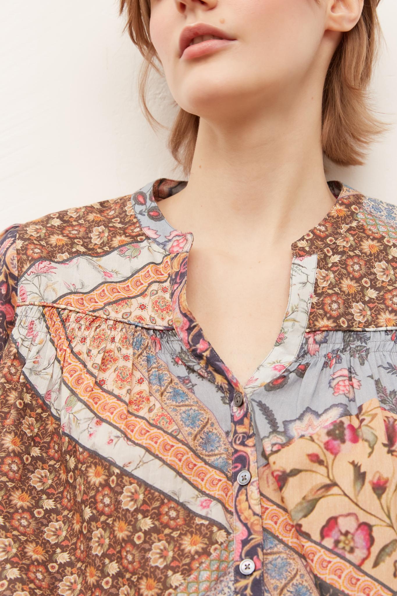 NUBIA - Блуза из хлопковой вуали в стиле пэчворк