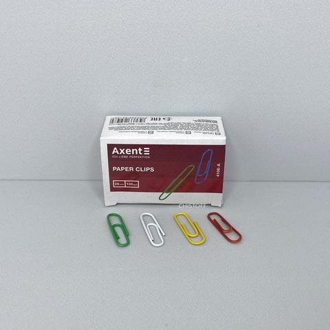 Скрепки Axent 28 мм (100 шт.) цветные