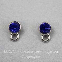 Пуссеты - гвоздики с синим стразом 11х7 мм (цвет - античное серебро)(с заглушками)