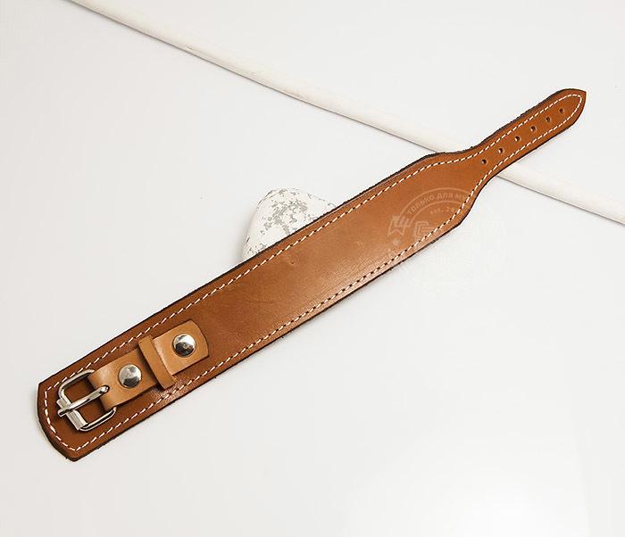BL402-2 Кожаный браслет ручной работы с металлической застежкой. «Boroda Design» фото 02