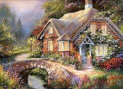 Картина раскраска по номерам 30x40 Дом у мостика