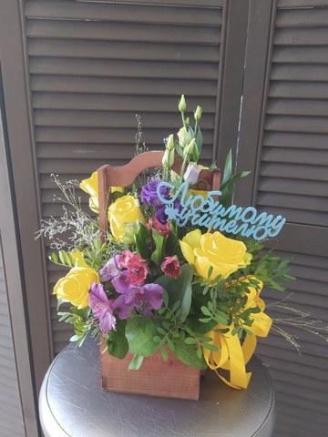 Цветы в ящике Любимому учителю #2555