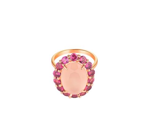 Кольцо с розовым кварцем овальной огранки в позолоте