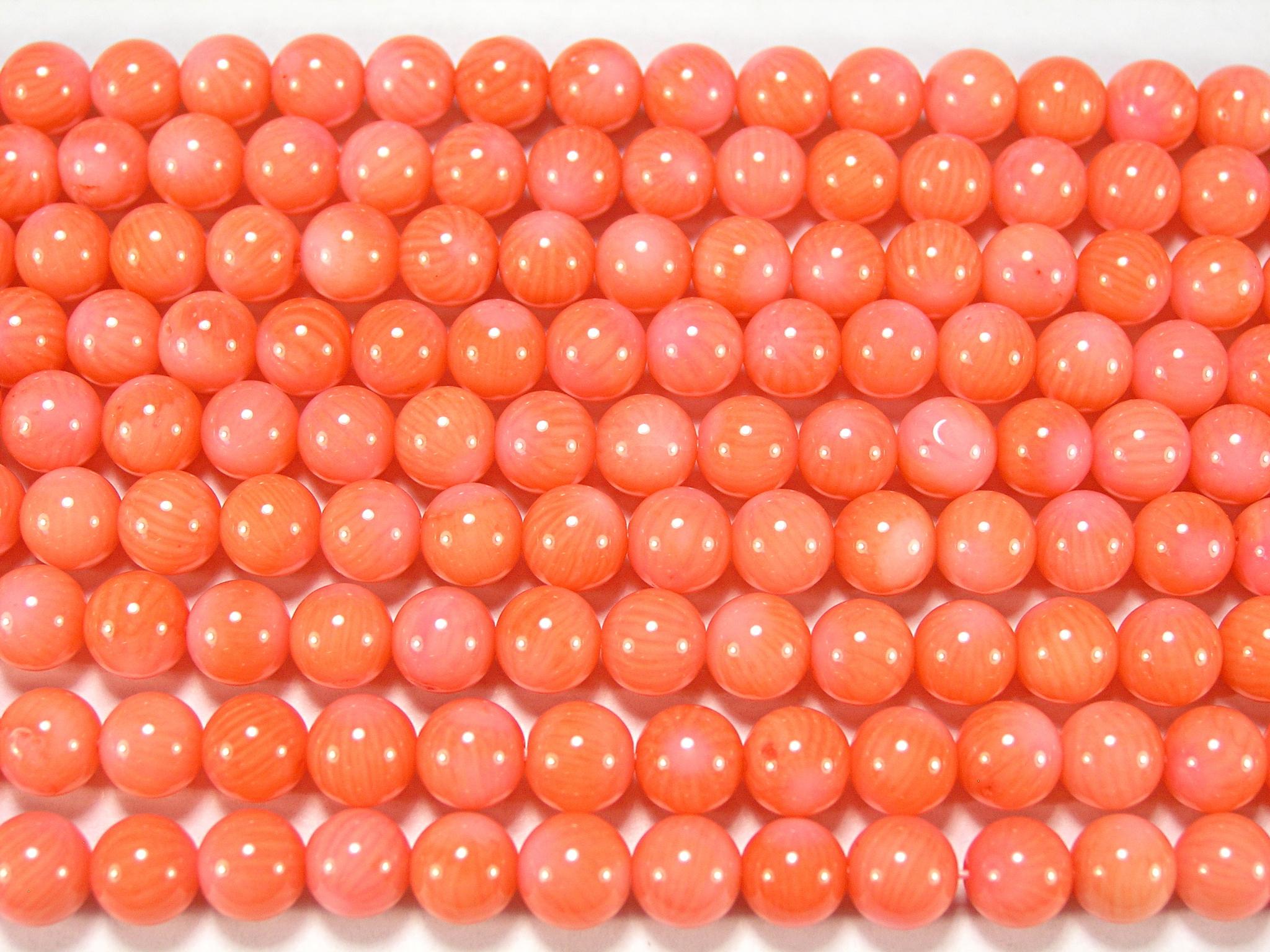 Нити бусин из коралла розового, шар гладкий 6мм (оптом)