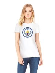 Футболка с принтом FC Manchester City (ФК Манчестер Сити) белая w003