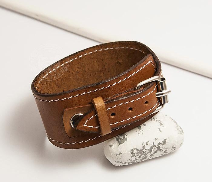 BL402-2 Кожаный браслет ручной работы с металлической застежкой. «Boroda Design» фото 03