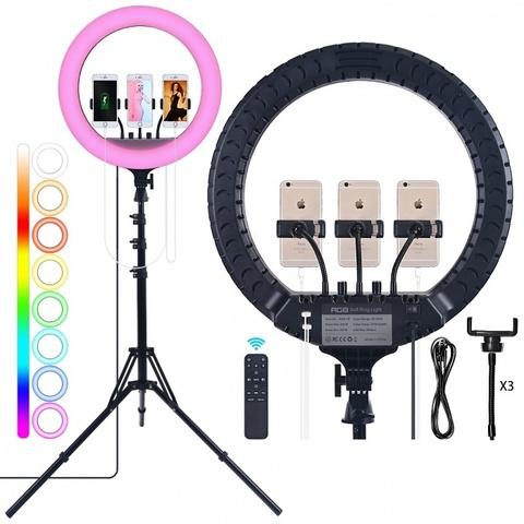 Цветная кольцевая RGB лампа со штативом ZB-F458 (диаметр 46 см), с пультом ДУ, черный