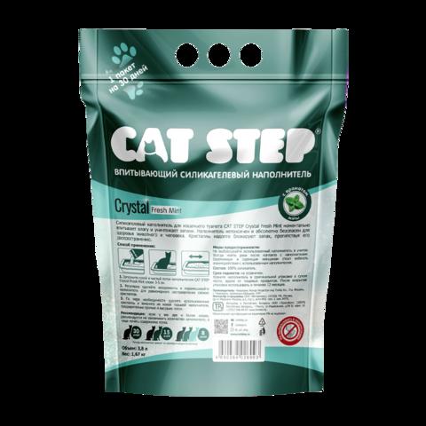 Cat Step Crystal Fresh Mint Наполнитель для туалета кошек силикагелевый впитывающий с ароматом мяты