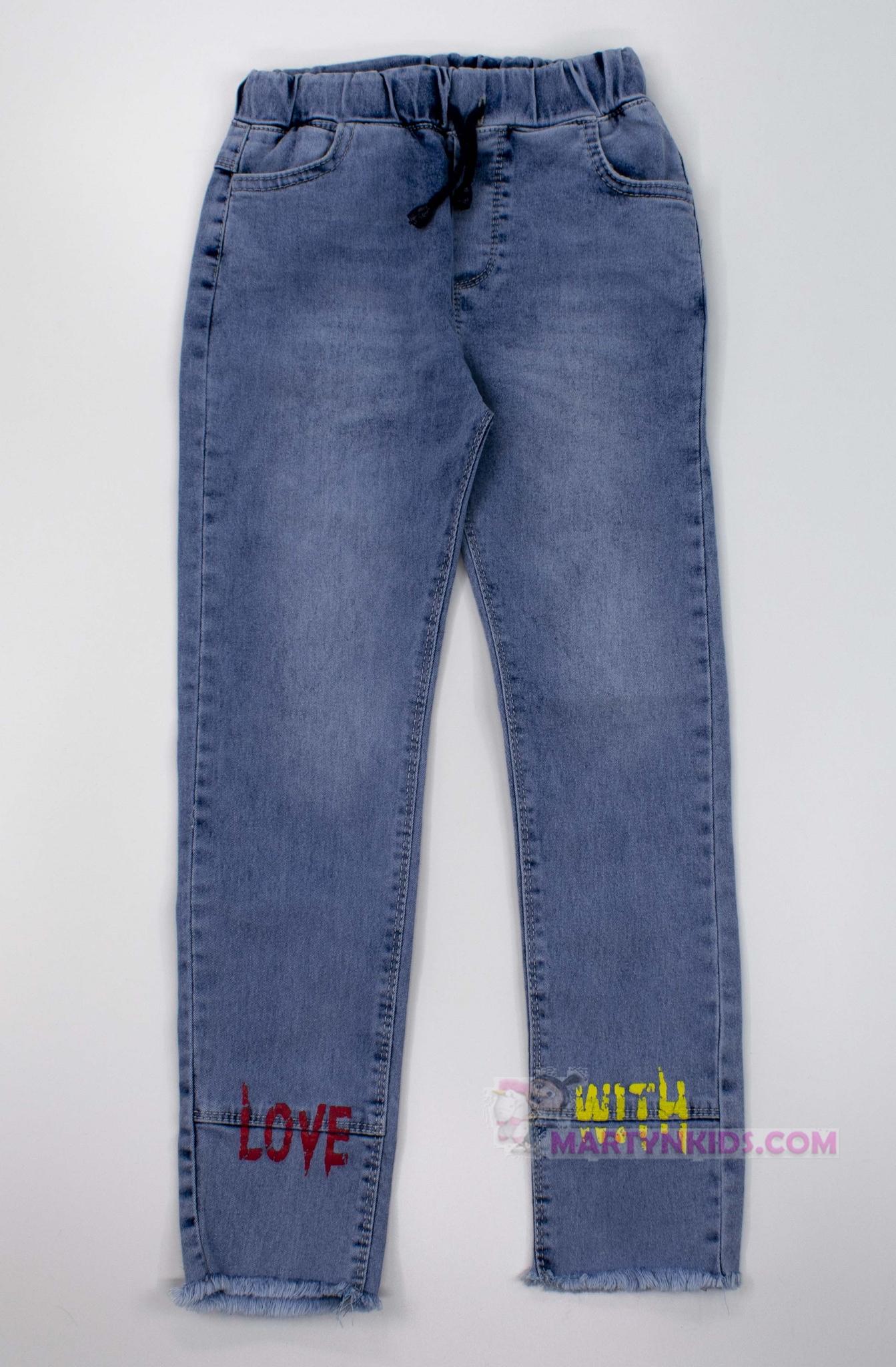 3388  джинсы Надписи стрейч