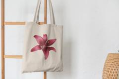 Сумка-шоппер с принтом Цветы (Лилии) бежевая 002