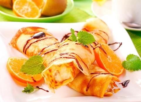 Блинчики с творогом и апельсином