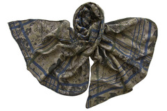 Палантин из вискозы серо-синий 1026