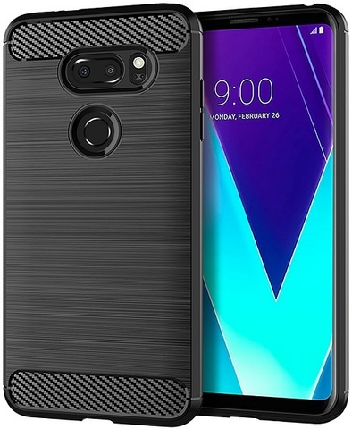 Чехол для LG V30S ThinQ (V30S+ ThinQ, V35 ThinQ) цвет Black (черный), серия Carbon от Caseport