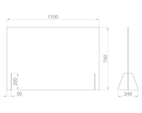 Настольный экран Ш.1100 мм, В.600/750 мм
