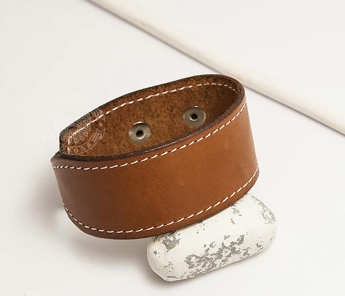 BL402-2 Кожаный браслет ручной работы с металлической застежкой. «Boroda Design» фото 05